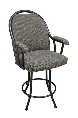 Tobias Designs M-80 Swivel Bar Stool with Padded Armrests and Tall Upholstered Back