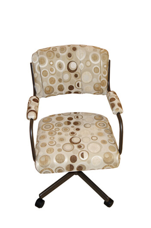 Upholstered Swivel Dining Arm Chair with Casters by Tobias Designs #111