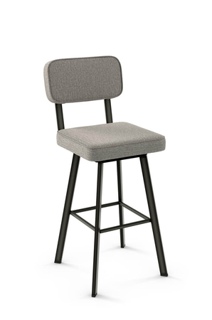Amisco Brixton Swivel Stool with Gray Fabric