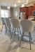 Amisco's Weston Modern Upholstered Swivel Bar Stools with Gray 4-Legged Base and Blue/White Upholstery in Traditional Kitchen