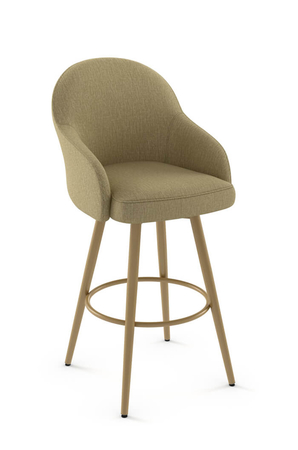 Amisco Weston Swivel Stool with Plush Seat and Backrest
