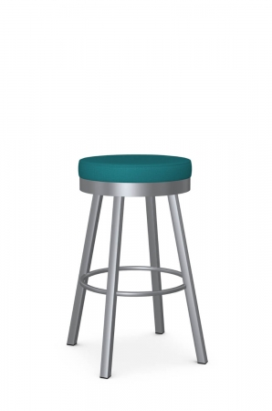Amisco's Rudy Backless Swivel Bar Stool in Silver Metal and Blue Round Seat Fabric