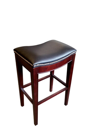 Adalynn Backless Saddle Stool with Wood Base