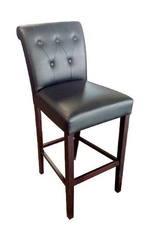 Marilla Parson Button-Tufted Bar Stool with Upholstered Seat