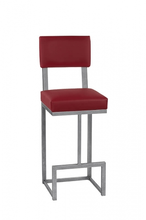 Wesley Allen's Dumas Ultra Modern Bar Stool with Back and Square Sled Legs