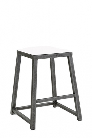 Wesley Allen's Riverton Modern Backless Square Metal Stool with Square Tubing and Seat Cushion