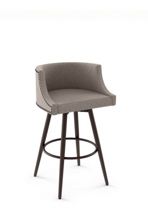 Amisco Radcliff Swivel Stool with Fully Upholstered Back and Seat