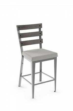 Amisco's Dexter Metal Stool with Hammered Wood Ladder Back and Square Seat Cushion