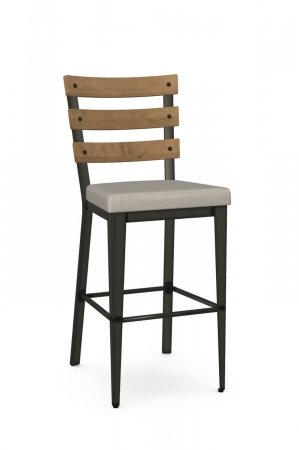Amisco's Dexter Industrial Stationary Bar Stool with Wood Back, Seat Cushion, and Metal Frame