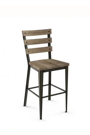 Amisco Dexter Stationary Stool with Wood Seat and Wood Slat Backrest