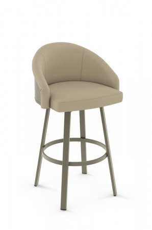 Amisco Fresno Swivel Stool with Low Upholstered Back and Padded Seat