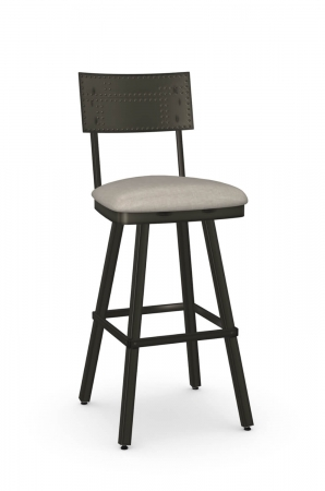 Amisco's Jetson Industrial Metal Swivel Bar Stool with Seat Cushion