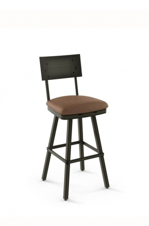 Amisco Jetson Swivel Stool with Embossed Metal Back and Padded Seat