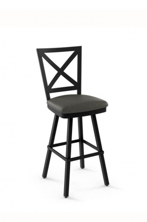 Amisco Kent Swivel Stool with Cross Back and Padded Seat