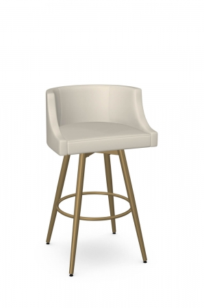 Amisco's Radcliff Luxe Modern Gold Swivel Bar Stool with Low Back