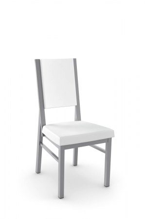 Amisco's Payton Modern Gray Dining Chair with Tall Upholstered Back and Seat