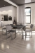 Amisco's Empire Chairs in Open-Concept Modern Kitchen and Dining Room, Monochromatic