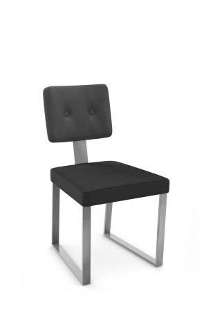 Amisco's Empire Modern Dining Chair with Button Tufted Back and Sled Base in Silver and Black