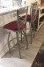 Holland's Catalina Nickel Bar Stools with Red Seat Cushion in Modern Kitchen Bar