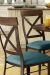 Amisco's Kyle Dining Chair with Blue Seat Cushion and Metal Frame