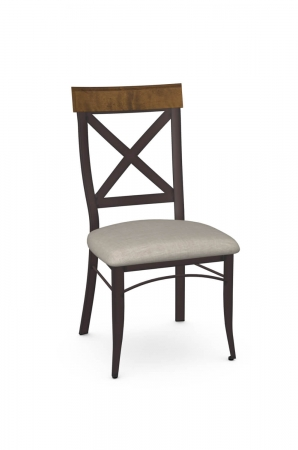 Amisco's Kyle Traditional Metal Dining Chair with Cross Back Design, Wood Back, and Seat Cushion