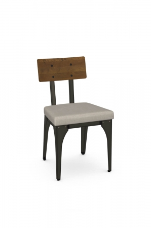 Amisco's Architect Industrial Dining Chair with Wood Back, Seat Cushion, and Metal Frame
