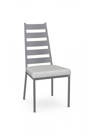 Amisco's Level Modern Ladder Back Dining Chair in Silver Metal and White Seat Cushion