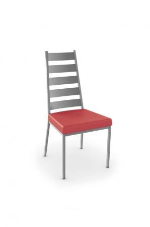 Amisco's Level Dining Chair with Tall Ladder Back, Thick Square Red Seat and Metal Frame