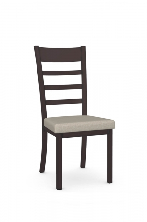 Amisco's Owen Brown Modern Dining Chair with Ladder Back Design