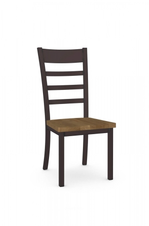 Amisco's Owen Traditional Ladder Back Dining Chair with Metal Frame and Wood Seat