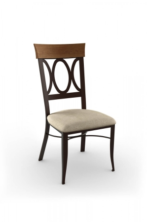 Amisco's Cindy Traditional Metal Dining Chair with Wood Back, Metal Frame, and Seat Cushion