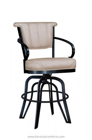 Lisa Furniture's #2546 Tilt Swivel Metal Upholstered Bar Stool with Arms