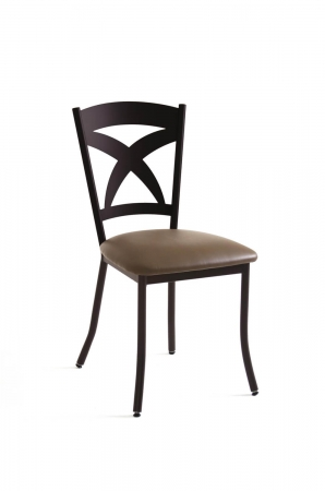 Amisco's Marcus Brown Dining Chair with X Back Design, Seat Cushion Vinyl, and Metal Frame