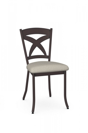 Amisco's Marcus Espresso Brown Metal Dining Chair with Cross Back Design and Square Seat Cushion