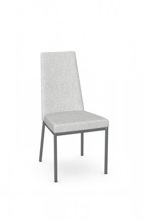 Amisco's Linea Modern Dining Chair with High Back in Silver Metal Base