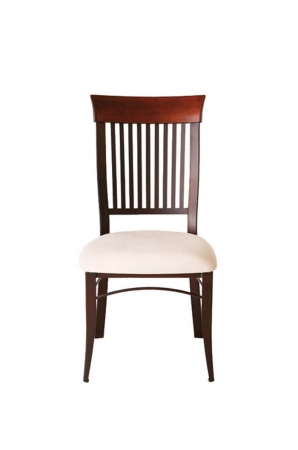 Amisco's Annabelle Country Dining Chair with Tall Slatted Back and Seat Cushion