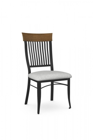 Amisco's Annabelle Traditional Dining Chair with Wood Back, Metal Frame, and Seat Cushion