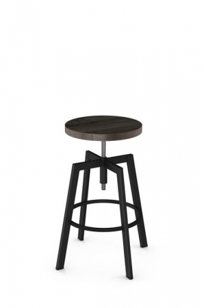 Amisco Architect Backless Screw Metal Stool with Wood Seat