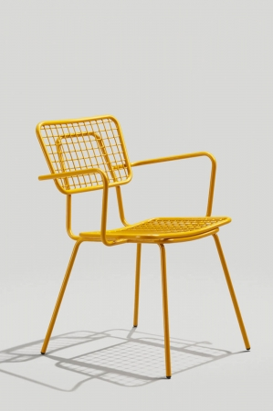 Grand Rapid's Opla Outdoor Armchair in Honey Yellow Finish