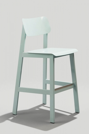 Grand Rapid's Sadie Modern Outdoor Barstool with Back in Dusty Blue Finish