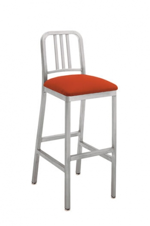 Grand Rapids Siren Outdoor Stool with Brushed Aluminum Frame