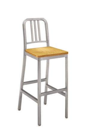 Grand Rapids Siren Outdoor Aluminum Stool with Wood Seat