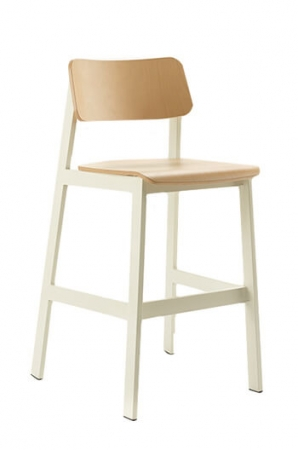 Grand Rapids Sadie Indoor Bar Stool with Curved Backrest and Seat