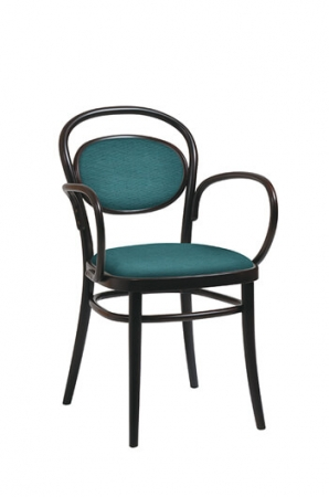 Grand Rapids Bentwood No. 20 Armchair with Black Frame and Green Fabric