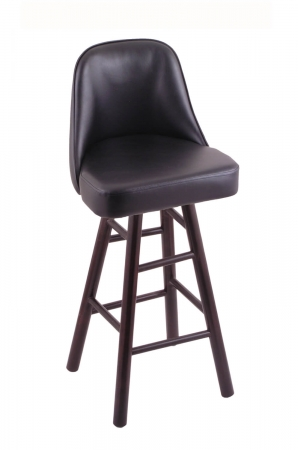 Holland's Grizzly Hardwood Upholstered Swivel Bar Stool in Dark Cherry, Maple wood finish, and Black vinyl seat and back