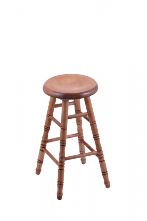 Holland's Saddle Dish Round Backless Swivel Stool with Turned Legs in Maple Medium Wood Finish
