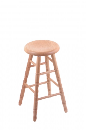 Holland's Saddle Dish Backless Wood Swivel Bar Stool in Natural Oak Wood Finish