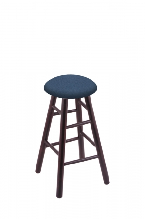 Holland's Round Cushion Backless Swivel Barstool with Smooth Legs in Dark Cherry Wood and Blue Seat Cushion