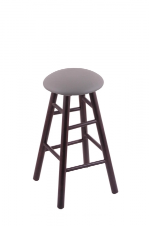 Holland's Round Cushion Swivel Backless Wooden Barstool in Dark Cherry and Allante Medium Grey vinyl