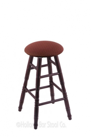 Holland Bar Stool Co. Round Cushion Domestic Hardwood Backless Swivel Stool with Turned Legs